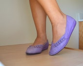 Candies Lilac Purple Leather Flats Vintage 1980s Womens Size 7