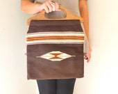 Ortega Chimayo Woven Southwest Tote. Wood Handle Handbag. Vintage 1970s