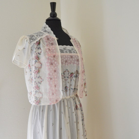 Floral Lace Sun Dress. Matching Caplet. Vintage 1970s. Sheer. Small / Medium