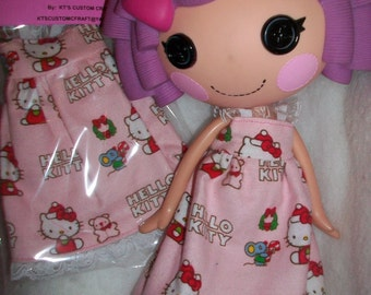 Doll Clothes Dress for Lalaloopsy Doll Pink Flannel Hello Kitty Nightgown New
