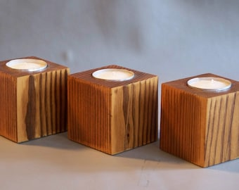 Wooden Candle Holders, Tea Light Candle Holders, Set of Three