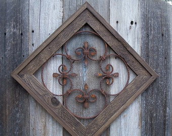 Country Chic Wall Decor, Rustic Framed Steel Wall Decor For Garden or Home, Rusted Steel Rosette Wall Decor