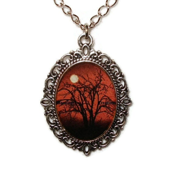 Moonlight Night Full Moon Necklace Pendant Black And Red