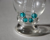 Frosted Teal Dangle Earrings