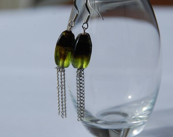 Smoky Olive and Dark Brown Dangle Earrings
