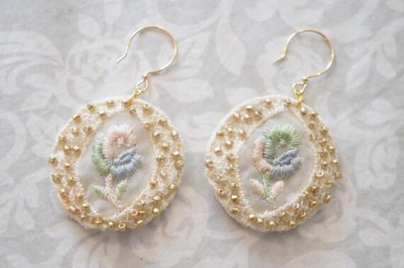 Crochet Lace Earings - Lace Dangle Earings - Lace Easter Earrings - Beaded Lace Earrings - Lace Bridal Jewelry - Romantic Earrings
