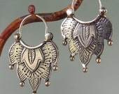 Alhambra Earrings -number 1 -  tribal style - silver hoop earrings