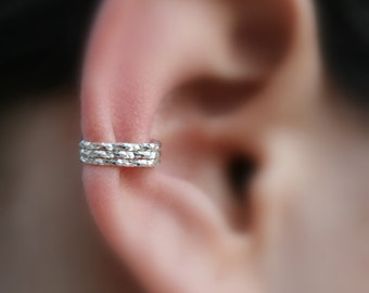 Sterling Silver Ear Cuff  - 3 Layer - Textured - Non Pierced - Fake Conch Piercing - Conch Cuff