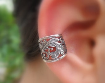 Sterling Silver Ear Cuff - Fake Piercing - Faux Piercing - Fake Conch Piercing - Fake Piercings - Lace Ear Cuff - Conch Cuff