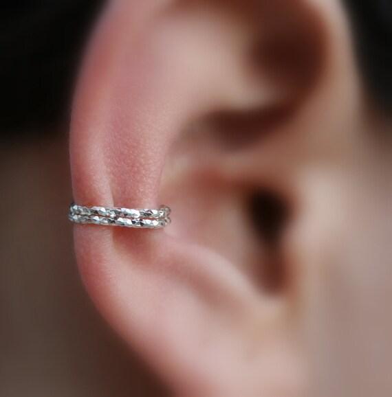 Sterling Silver Ear Cuff  - 2 Layer Textured Ear Cuff - Non Pierced - Fake Conch Piercing - Conch Cuff