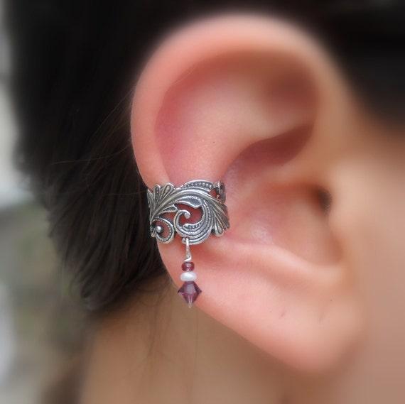 Sterling Silver Ear Cuff - Lace - Pearl - Swarovsky Crystal  - Non Pierced - Conch Cuff