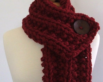 Chunky Knit Cranberry Red Cowl Scarf with Large Brown Button