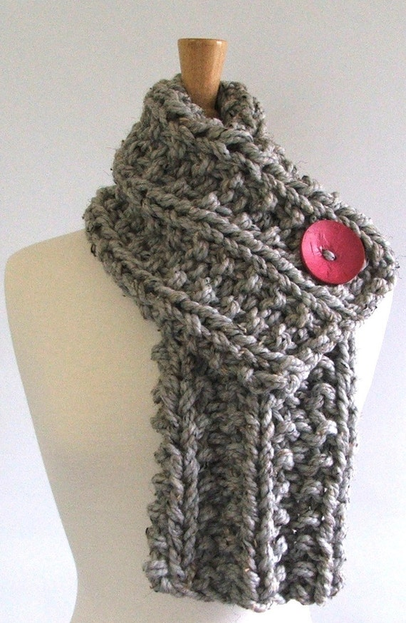 Chunky Knit Marbled Silver Gray Cowl Scarf with Large Hot Pink Button