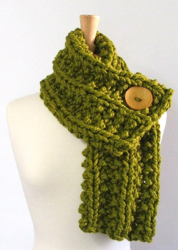 Chunky Knit Lemongrass Green Cowl Scarf with Large Yellow Button