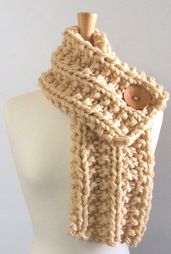 Chunky Knit Cream Cowl Scarf with Large Tan Button