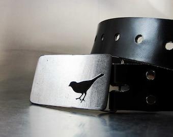 Tiny Little Bird Belt Buckle - Handmade - Stainless Steel