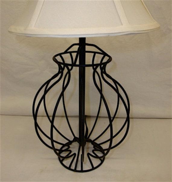 Black Wire Frame Iron Lamp, Bird Cage Design