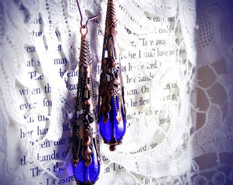 Victorian Cone earrings, copper filigree cone, blue glass drop, romantic, art nouveau, delicate, vintage, Edwardian, blue earrings, dangles