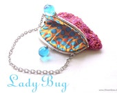 Little Colorful Crotched Bag, Purse, crazy, pink, turquoise, dots, hand sewn, OOAK