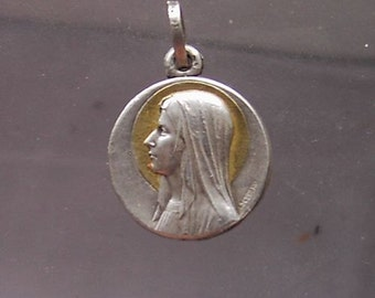 "Virgin Mary Our Lady of Lourdes Vintage Silver & Gold Religious Medal Pendant on 18"" sterling silver rolo chain"