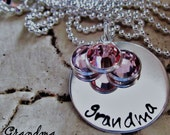 Personalized Handstamped Sterling Silver Mothers Necklace, Grandma Necklace, Family Necklace