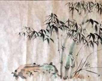 "CP10114 Original Bamboo Nature Chinese Brush Painting 12""X27"""