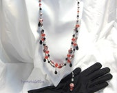 Renaissance Double Strand Necklace and Long Dangle Earrings, Queen of Hearts