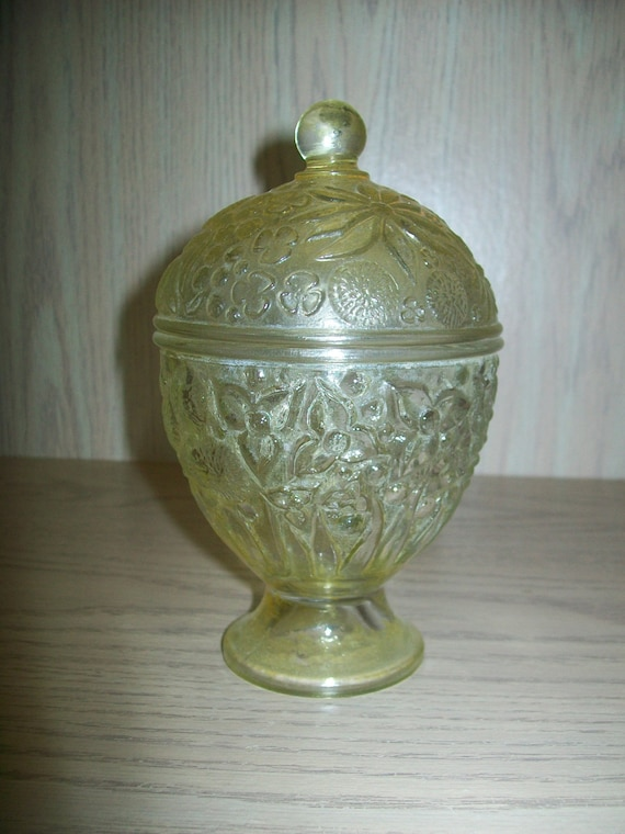 Candy Dish Vanity Jar Avon Topaz 1960