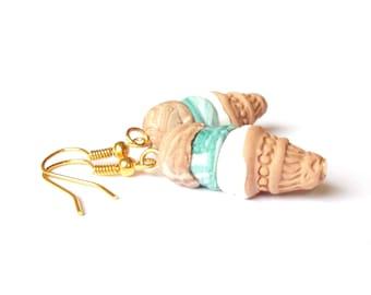 Miniature Food Ice Cream Earrings ( triple vanilla mint chocolate funny jewelry kawaii earrings gift for girl handmade polymer clay cute )