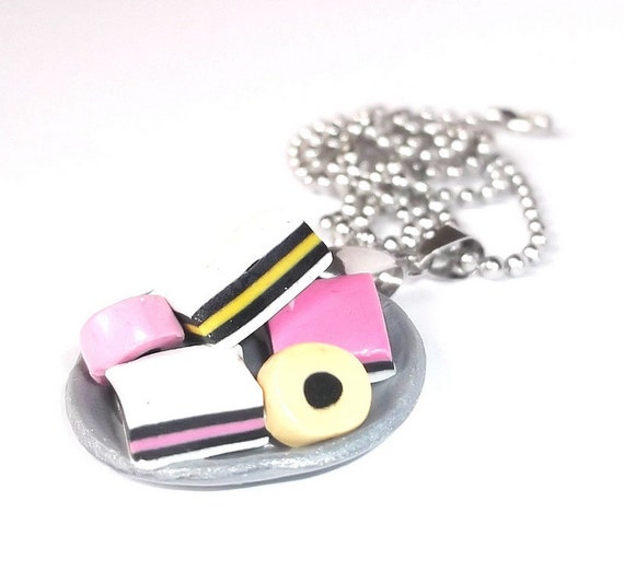 Liquorice Allsorts Necklace  ( funky jewelry silver polymer clay mini food cute sweet girl handmade )
