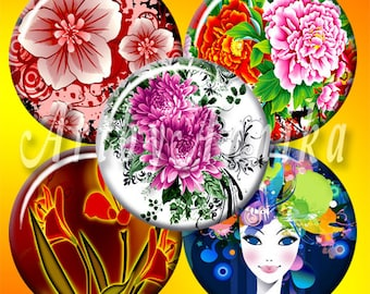 Graceful Floral Designs - 63 1x1 Inch Circle JPG images - Digital Collage Sheet
