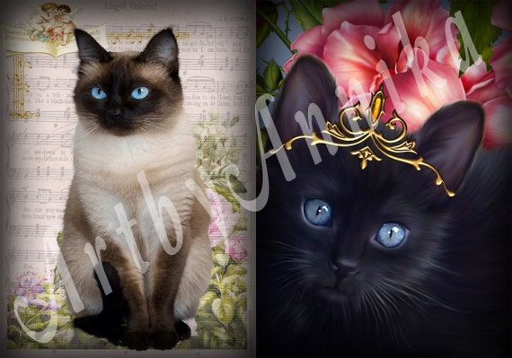 Cats - 9 Digital ACEO Images - Printable Digital Collage Sheet