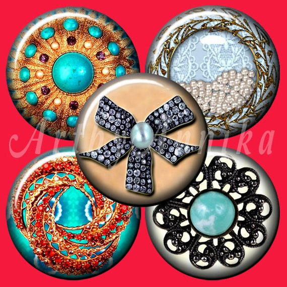 Digital Collage of jewelry  - 63 1x1 Inch Circle JPG images - Digital Collage Sheet