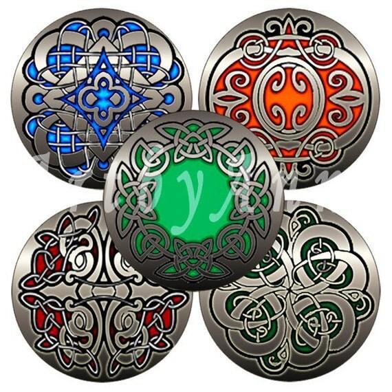 Digital Collage of Celtic patterns on a metal - 48 1.313 Inch Circle JPG images - Digital Collage Sheet