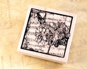 Hydrangea Collage - Wood Mounted Rubber Stamp from Hampton Art