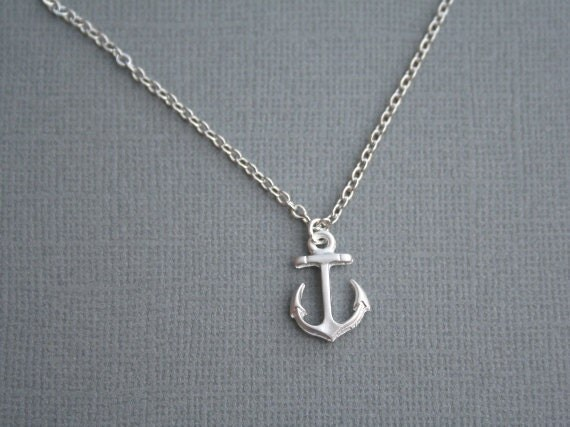 Silver Anchor Necklace. Petite Silver Necklace. Bridesmaid Gifts. Simple. Bridesmaids Necklace. Luck. Sail. Navy. Boat. Ship. Friendship.