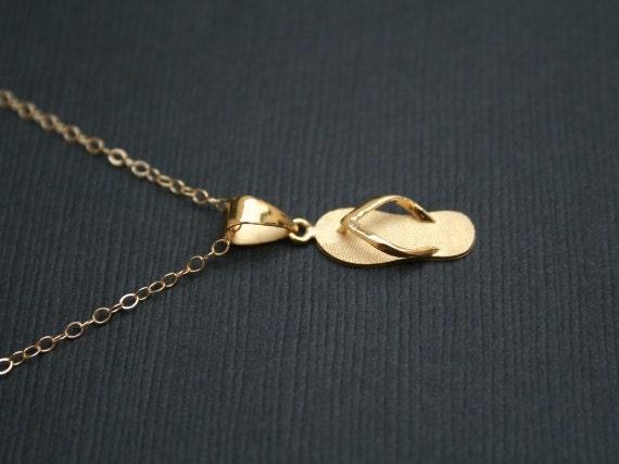 gold flip flop necklace bridesmaid necklace wedding. Black Bedroom Furniture Sets. Home Design Ideas