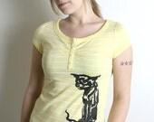 Cat Silkscreen Shirt - Lemon Yellow Cotton Screen Print Top - Bella