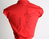 Screen Print Wrap Top - Cherry Red Death Pedal Bike Gang Shirt - Two Styles - Small - Halloween Style