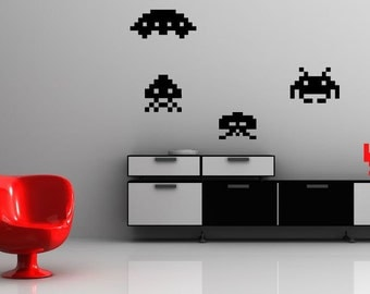 Space Invaders Video Game Alien - Vinyl Wall Decals