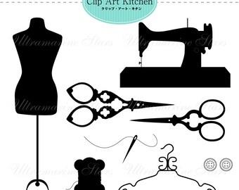 Printable Digital clip art : Sewing Set