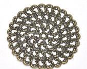 Filigree : 10 Antique Bronze Filigree Metal Jewelry Stampings   Filigree Stampings   Connectors Links -- Lead, Nickel & Cadmium free 14301.M