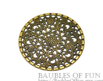 Filigree : 10 Antique Bronze Round Filigree Flower Stampings | Metal Jewelry Stampings -- Lead, Nickel & Cadmium Free 16292.P