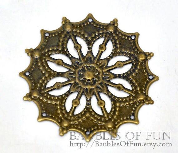 Filigree : 10 Antique Bronze Filigree Flower Connectors   Brass Ox Ornate Metal Stampings   Links ...  Lead, Nickel & Cadmium Free 14167.N