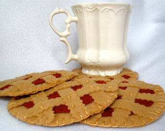Felt Cherry Pie Coasters, Hand Stitched Cherry Tart,  Linzer Torte, Hostess Gift,  MugMats Gift Set