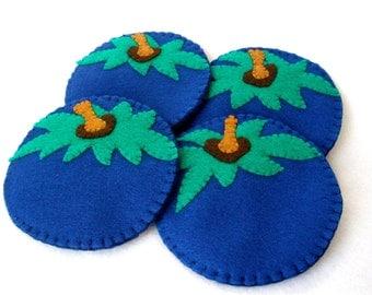 Blueberry Felt Coasters, Blueberry MugMats  Hostess Gift, Fruit Coasters, Hand Stitched Set of Four
