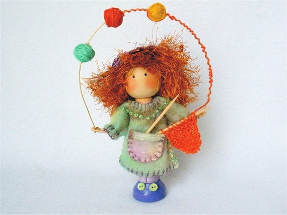 Knitter Art Doll, Clothespin Doll, Knitting Peg Doll, Juggling Yarn Balls, Pegtales Crafter Series