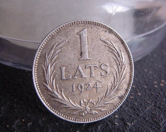 1924 ANTIQUE 1 Lat Silver Coin for collection, gift, jewelry, anniversary