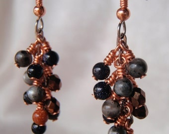 Copper, Goldstone, and Blue Labradorite Clustered Dangle Earrings