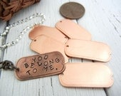 "Metal Stamping Blanks - SMALL Copper Dog Tag with Hole 1"" x 1/2"" 24 gauge - Pack of SIX - Hand Stamping Jewelry Tag"